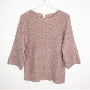 H&M Oversized Textured Knit Pullover Sweater Pink